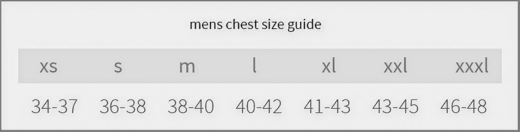 Men chest size guide