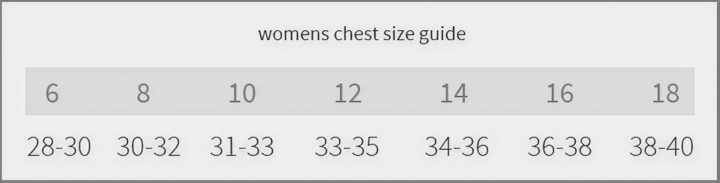 Women chest size guide